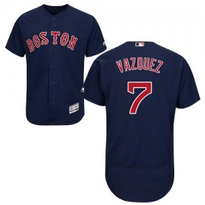 Men's Majestic Boston Red Sox Christian Vazquez Authentic Navy Blue Flexbase Collection Jersey