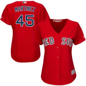 Women's Majestic Boston Red Sox Pedro Martinez Authentic Red Alternate Home Jersey